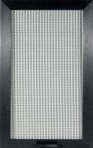 vetrina con telaio in alluminio anodizzato nel colore nero e vetro retinato, spessore 22 mm
