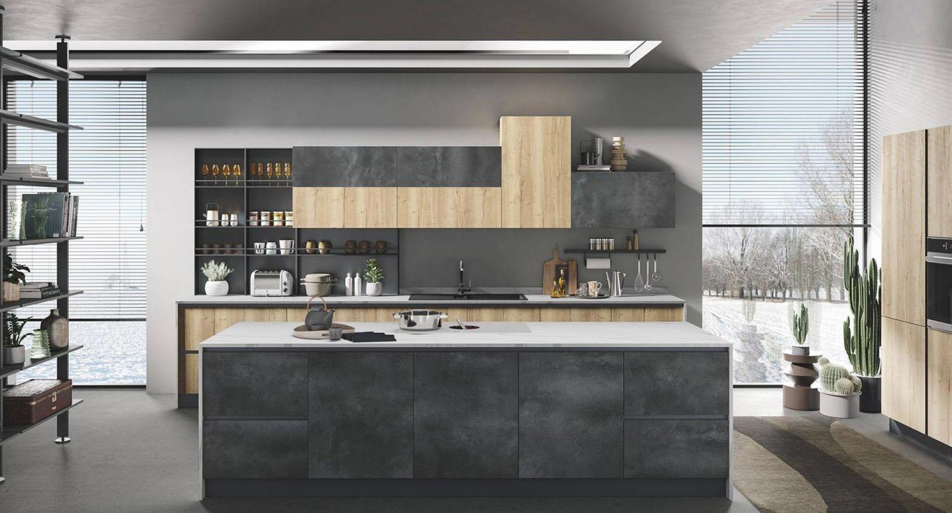 cucina moderna di design Star pietra grigia naturale tavolato