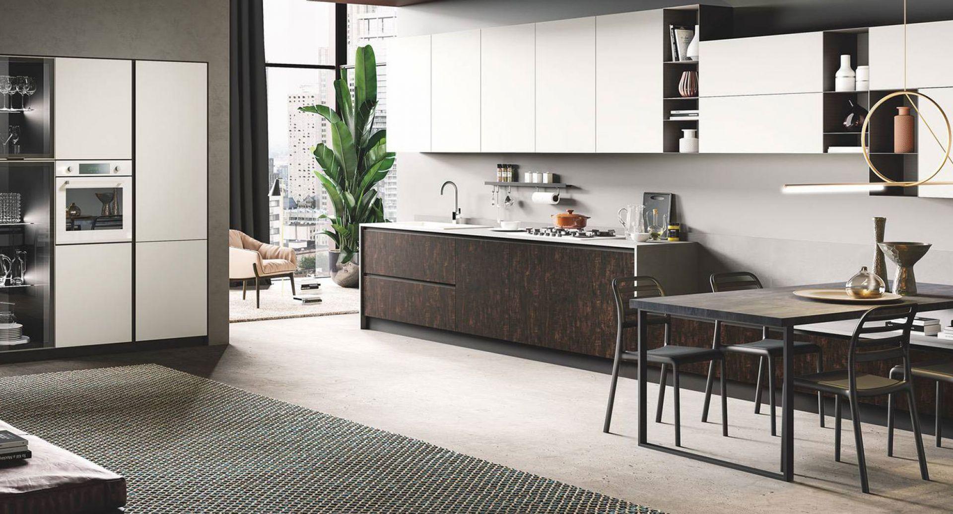 cucina moderna di design Star seta bianco opaco legno bruciato