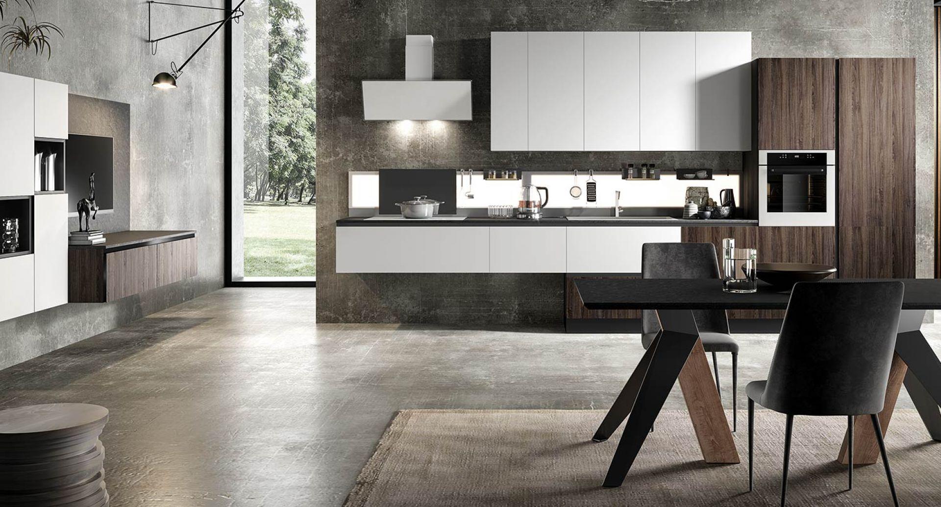 Cucina moderna Eos Alevè noce Glass bianco opaco