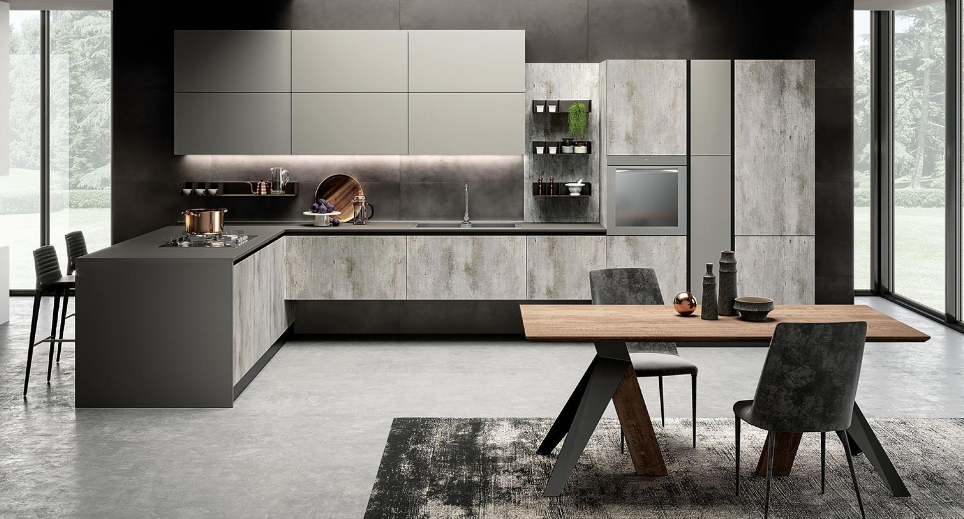 Cucina moderna Eos papier cemento e glass tortora opaco